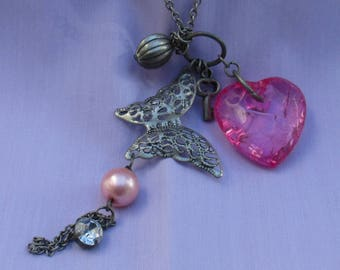 Retro Butterfly Pink Acrylic Heart Key Pink Faux Pearl Clear Rhinestone Long Chain Necklace TLC