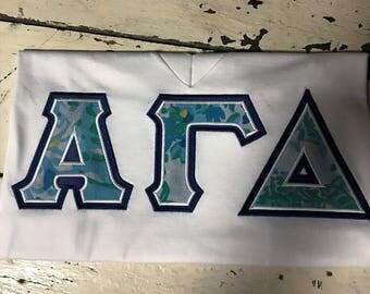 Sorority Letter Shirt American Apparel V-Neck Lilly Pulitzer Fabric Alpha Gamma Delta