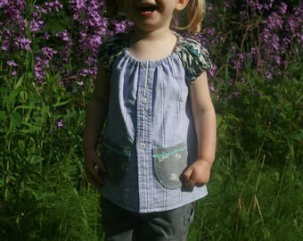 Cotton Top - Size 1T, 2T, 3T - Toddler Girl Summer Tunic - Upcycled Fabric - Ecokids - Pocket Shirt - Stripe Blouse