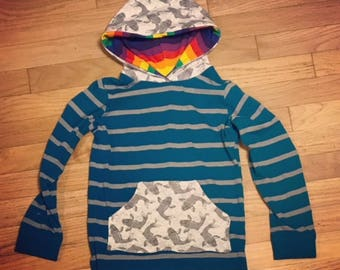 Long sleeve t-shirt - Size 7 - Girl Boy Top - Upcycled fabric  - Ecokids - Pocket hoodie - Coy fish - Stripe - Rainbow Hood