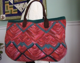 Felted Hand-knit Wool Tote