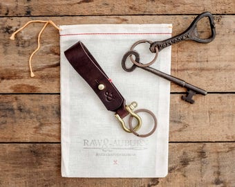 Leather Keychain / Key Ring / Fob / Lanyard / Chestnut