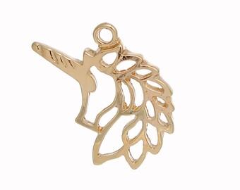 """Unicorn Gold Plated 28 x 23 MM 1 1/8"""" x  7/8"""" - 5 UNICORN Charms - Unicorn Pendant Gold"""