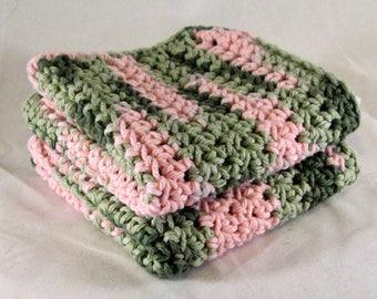 Pink Camo Cotton Spa Set, Pink Camo Cotton Washcloth, Pink Camo Crochet Washcloth, Pink Camo Dishcloth, Pink Camo Washcloth Spa Set