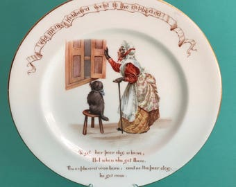 Antique Royal Doulton Old Mother Hubbard Child's Plate, Nursery Rhyme Series