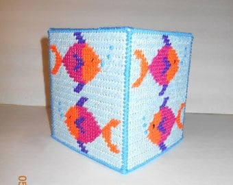 Fish tissue Box Cover, Plastic canvas, Kleenex box cover