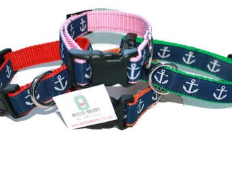 """Anchor Dog Collars  with Leash option**2 Width's available-3/4"""" and 1"""" for larger dogs"""