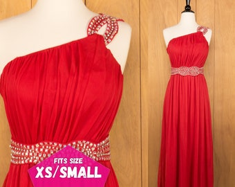 Red Grecian Dress Vintage Red Prom Dress Formal Evening Gown Rhinestones Applique ~ XS