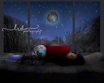 Digital Backdrop/Snowy Night by the Window/Newborn/Baby/Children/Family/Photography/Prop/Christmas/Fantasy/Overlay/Snow/Winter