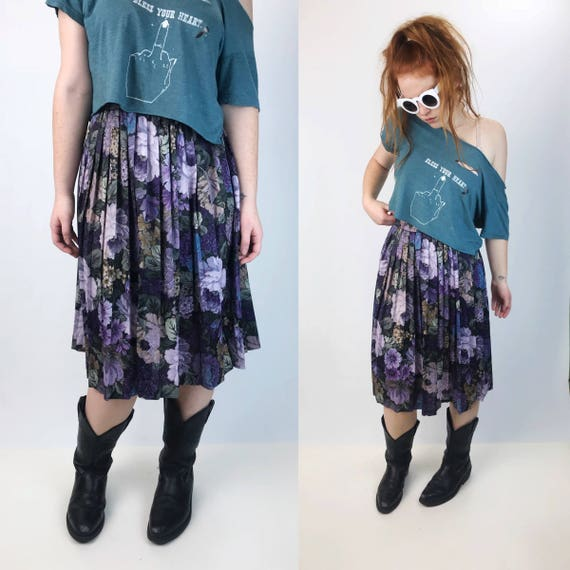 80's Floral High Waist Midi Skirt Medium - Floral Purple Midi Skirt Medium Tea Length Rose Print - High Waist Stretchy Elastic Band Midi