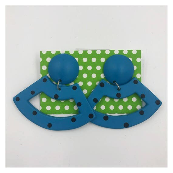80's Polka Dot Dangly Statement Earrings - Large Funky Costume Jewelry Drop Earrings - RARE Blue & Black Eighties Big Fun Plastic Earrings