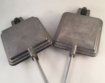 Set of 2 Coleman Long Campfire Cookers, Sandwich Makers, Camping, Backyard, Fire Pit, Campfire Cookers, Coleman Camping Cooker