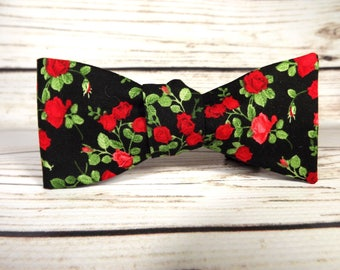 Rose bowtie, Red roses bowtie, black and red bowtie, calico rose, small print floral, miniature rose, red rose, elegant floral, rose floral