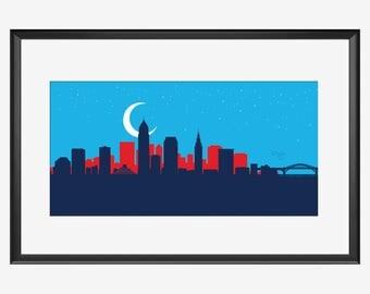 Cleveland Skyline, Cleveland Ohio, Cleveland art, Cleveland print, Cleveland poster