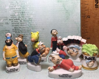 POPEYE Olive Oyl Bluto Wimpy  Set of 10 - French Feve Feves Porcelain Figurines Miniatures O61