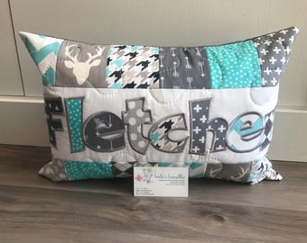 Deer pillow case in teal and grey, art gallery, personalized pillow case 12x18 inches
