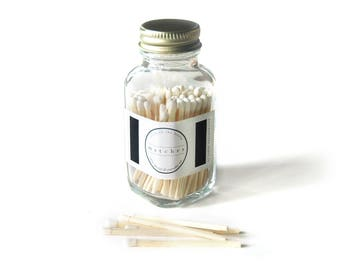 White Square Bottle Matches. Home Decor. Fancy Jar Matches. Strike on Glass Bottle. Pair with a Candle. Cozy Match Jar. Light a Pretty Spark