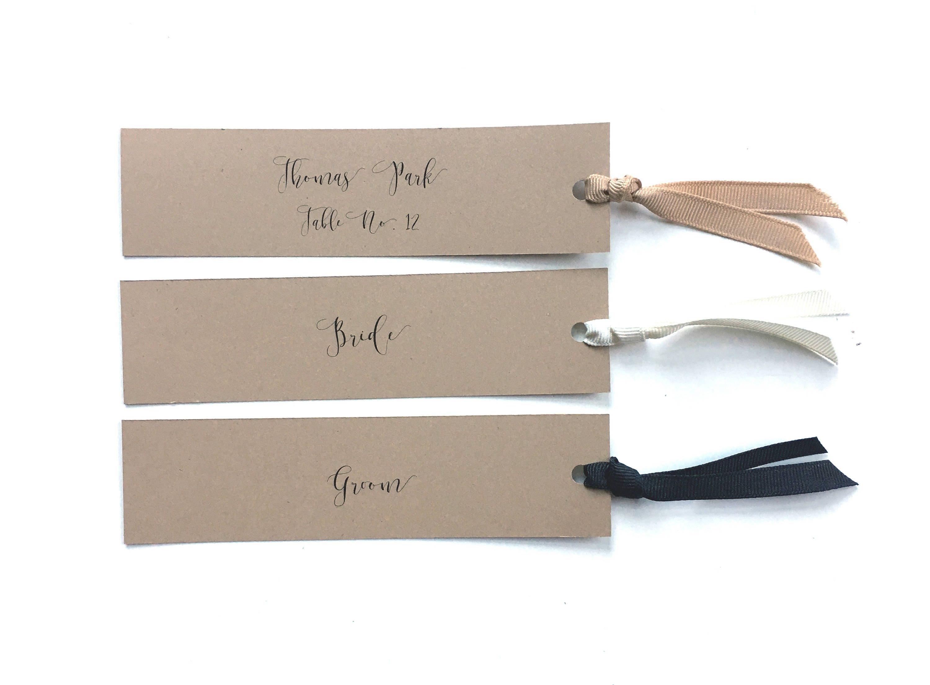 Bookmark Place Cards Vintage Wedding Seating Cards Ribbon Tag