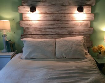 King Size Headboard Distressed Turquoise Handmade King