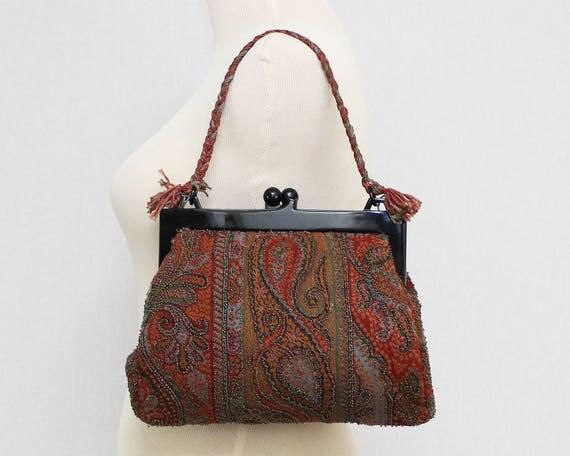 Vintage 1930s Paisley Beaded Tapestry Handbag