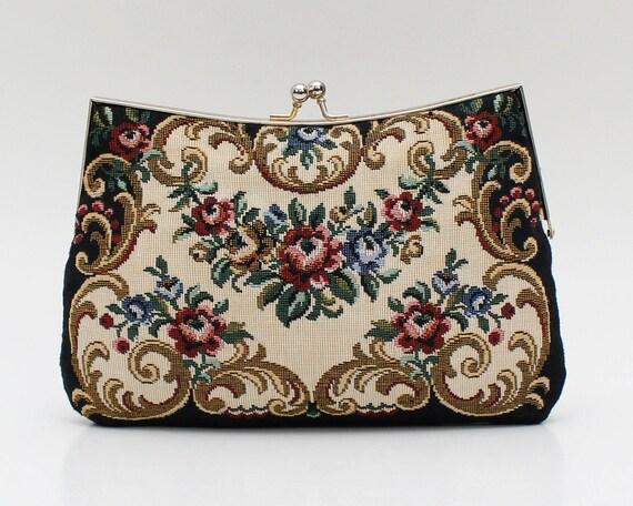 Vintage 1960s Floral Tapestry Handbag
