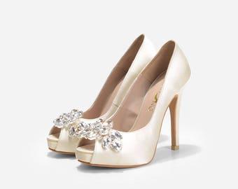 Jupiter Ivory Love Wedding Shoes, Ivory White Bridal Shoes, Bridal Heels, Silk Satin Diamante Evening Dress Shoes