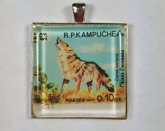 Coyote Kampuchea Cambodia Canis latrans Genuine Postage Stamp Pendant Key Ring