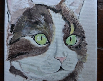 "chat calin ""toile acrylique format 20cmx30"