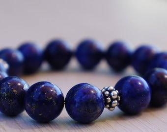 Natural Lapis Lazuli Bracelet/Sterling Silver Bali Bracelet