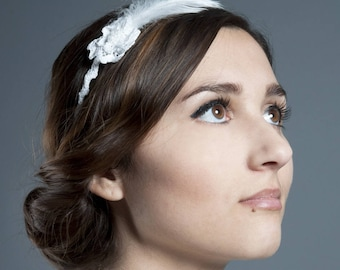 headband bridal ref 6 crochet lace feathers and beads white