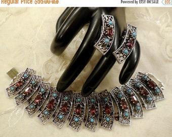 ON SALE Vintage Faux Amethyst and Faux Seed Turquoise Bead Bookchain Link Bracelet