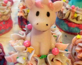 Unicorn Bubble Bath Bar - with goats milk soap topping and rubber unicorn water toy