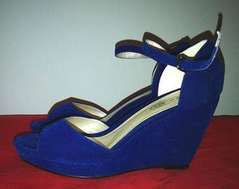Blue Velvet Peephole Wedge Sandals