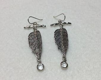 Leaf Branch Earrings with Crystal Dangles