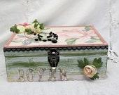 Wedding Memory Box Magnolia Flower Pink Green, Mothers Day Gift, Anniversary Box, Custom Memory Box, Bridal Shower Gift, Flower Gift box