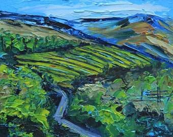 California Art, Landscape Painting, Vineyard Art, California Winery, California, Palette Knife, 8x10, Award Winning San Francisco Bay Artist