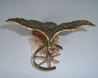 Curtis Jere Eagle & Wheel Table Sculpture on Onyx Base!