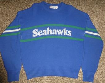 Vtg 80's Seattle Seahawks Cliff Engle NFL Wool Sweater Sweatshirt Sz Men's XL