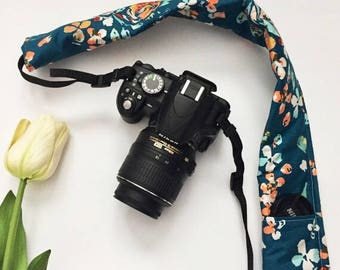 Teal Floral Camera Strap Cover, Floral Camera Strap Cover,  Padded Camera Strap, Gift for Her, Gift Under 20, Camera Accessory, Photography