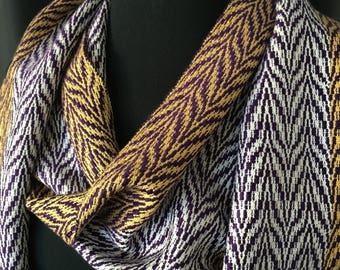 Persistence Scarf, Purple Scarf, Gold Scarf, Suffrage Sash, Hand Woven Scarf, Woven Scarf, Handmade Scarf, Unique Scarf