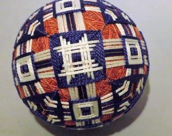 Japanese Temari Ball Pink Blue and White weave