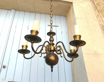 5 stem metal ceiling light, 5 light chandelier, brass metal light, French vintage chandelier, 30's art deco electric light.