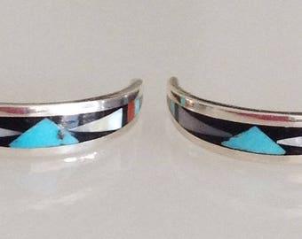 Zuni Turquoise Coral Jet MOP Sterling Silver Half Hoop  Earrings