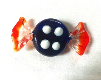 Art Murano Style Glass Candy Piece Blue and Red