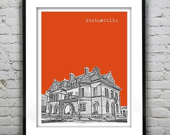 1 Day Only Sale 10% Off - Statesville Art Print Poster Original North Carolina NC Version 1
