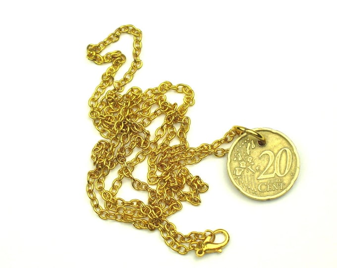 Coin Charm Necklace with Gold Plated Chain / Real Spanish Euro Coin