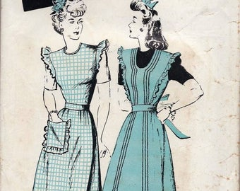 1940s Butterick 2812 Women's Pinafore or Apron in Dress or Shorter Length Sewing Pattern FF