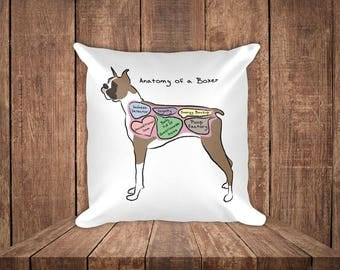 Anatomy of a Boxer - Funny Boxer Dog Square Pillow