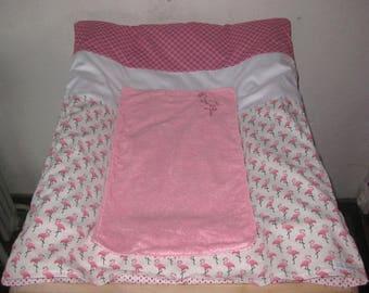 Housse de matelas à langer rose tissus tilda, blanc et flamants roses et ses 2 langes amovibles, cadeau naissance bébé fille