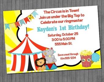 FLASH SALE Big Top Circus Birthday Invitation